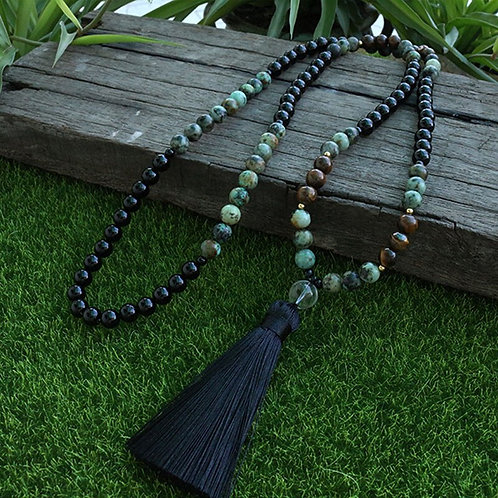 8mm African Turquoise and Onyx Beads 108 Bead Mala