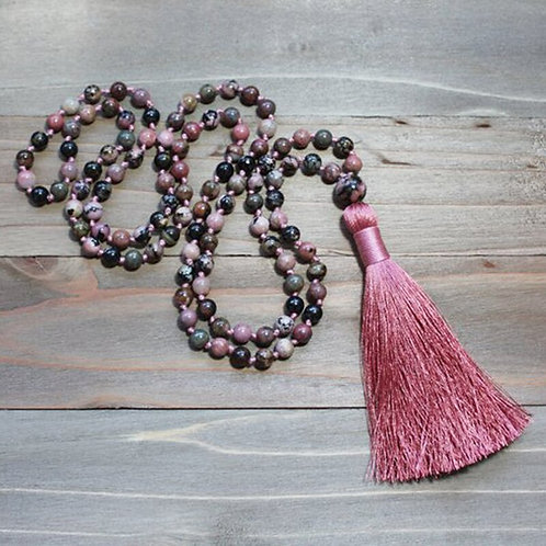 Black and Pink Rhodonite 6mm, 108 Bead  Mala Necklace