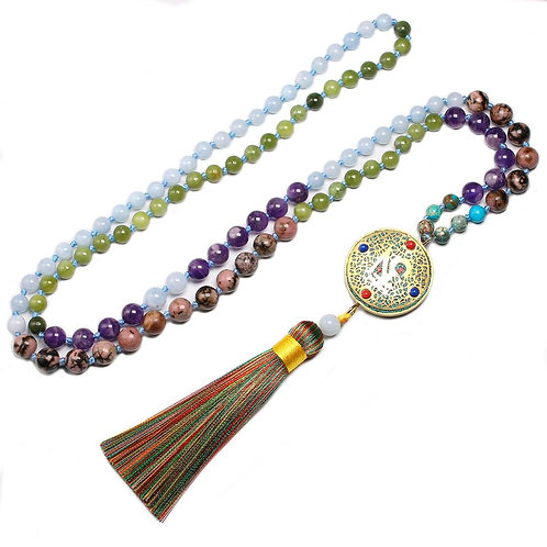 108 Beads Mala Bead Necklace with medallion and tassel