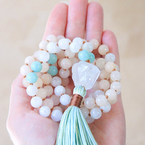 Raw Quartz 108 Bead Mala with Tassel