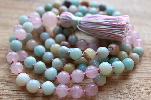 Rose Quartz and Amazonite 108 Mala Bead Necklace & Bracelet
