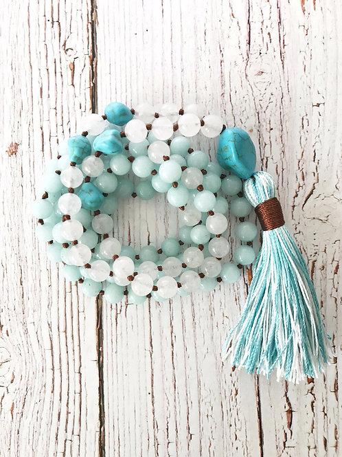 White Jade, Turquoise & Aquamarine 108 Mala Bead Necklace & Bracelet