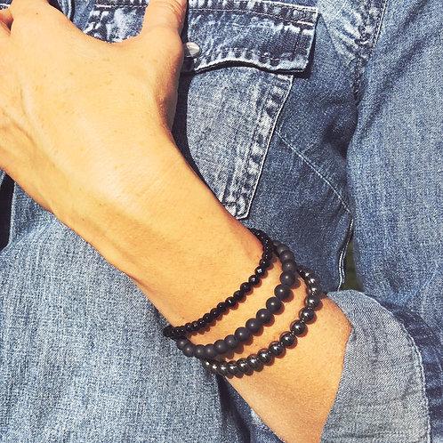 Black Onyx Gemstone Bracelet Set of 3 Bracelets