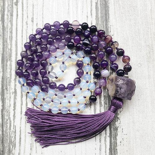 Raw Amethyst w/ Purple Tassel / Hand Knotted, 108 Bead Mala