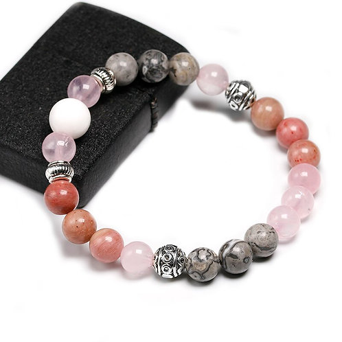 Natural Sunstone With Rhodochrosite & Tourmalated Quartz  Bead Bracelet