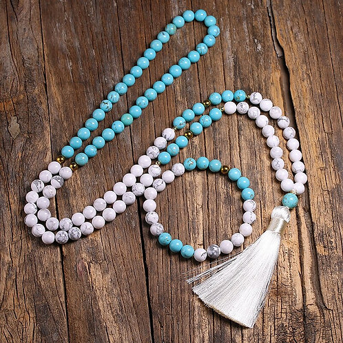 Natural White Howlite Stone and Blue Turquoise  108 Mala Bead Necklace