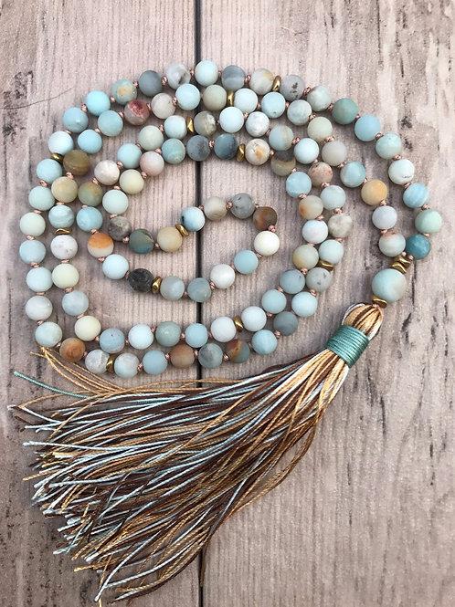 Matte Amazonite 108 Mala Bead Necklace & Bracelet