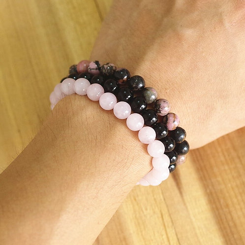 Rhodonite Rose  Quartzs &  Black Onyx, Natural Stone Stackable Bracelet Set