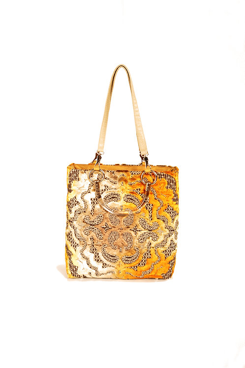 Cut Velvet Baroque Gold Small Tote