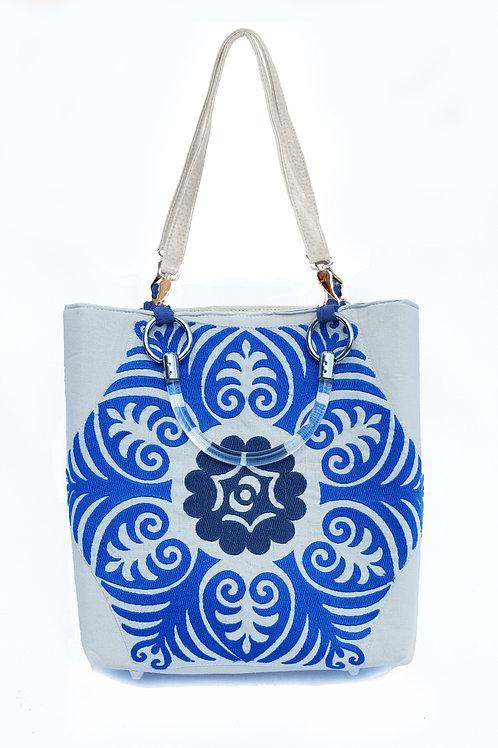 Embroidered Suzani Blue Small Tote