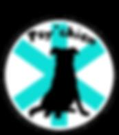 Logo de Psy'chien, silhouette d'un chien de berger noir assis devant l'étoile médicale en turquoise