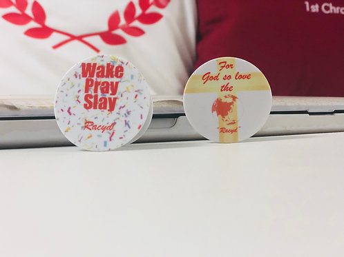Wake Pray Slay (Red and White) Phone Grip