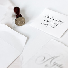Envelope, quote and placecards