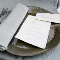Handwritten menu's and placecards on Japanese Cardboard using Metallic blue ink