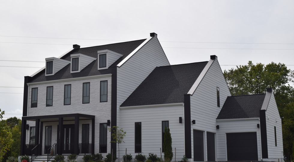 White Brick and Siding with Black Metail