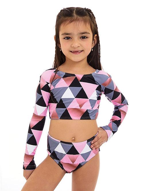 ביקיני שרוול ארוך הדפס Jamaica Pink
