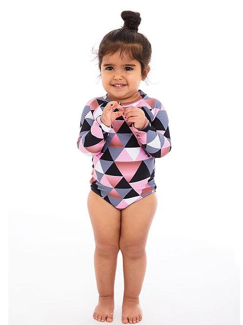 Mini Jamaica pink long sleeves one piece