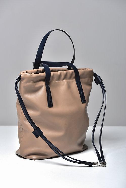 Leather Bag Grey with dark blue details (Shoulder and Backpack)
