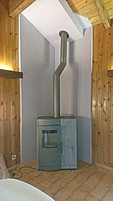 Tubage Valais Saxon poêle mixte bois pellet Mayen de Saxon
