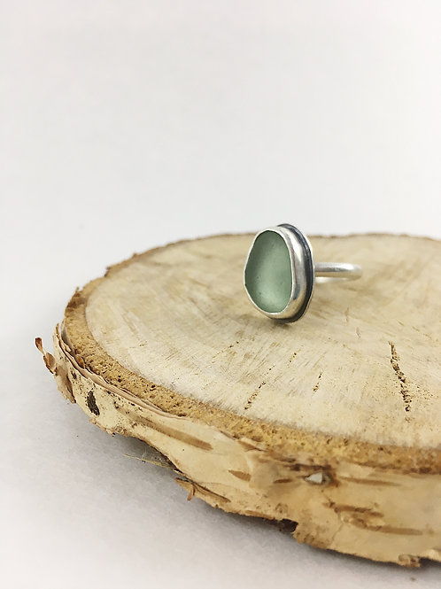 sea glass ring, silver sea glass ring, handmade silver jewellery, custom sea glass ring