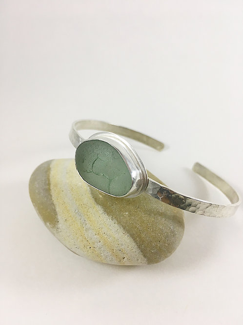 aqua sea glass and silver bracelet, silver sea glass jewelry, sea glass jewellery, bespoke jewelry, sea glass bracelet