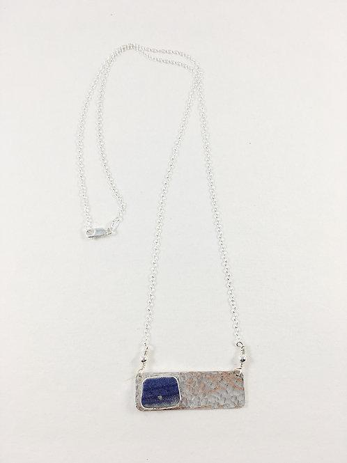 Ming china bar pendant, broken china jewelry, broken china necklace, artifact jewelry, art jewelry, handmade silver jewelry,