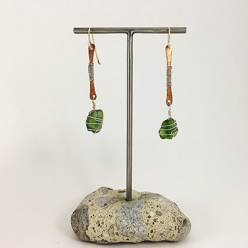 Handmade Boho Jewelry with Sterling Silver and Handforged Copper and Green Sea Glass