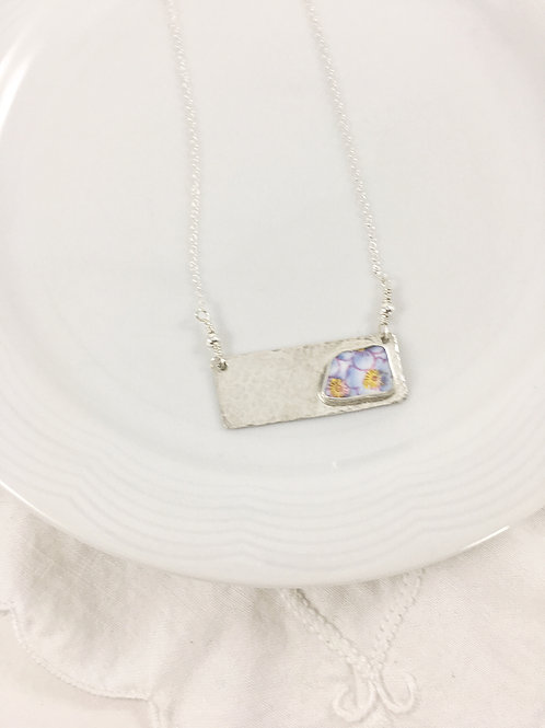 broken china bar necklace, broken china jewelry, up cycled jewelry, art jewelry, handmade silver jewelry