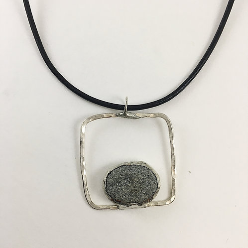 Gray beach pebble and handmade sterling silver pendant