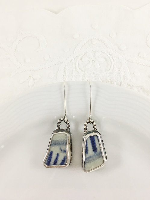 Ming china earrings, broken china jewelry, broken china earrings, artifact jewelry, art jewelry, handmade silver jewelry