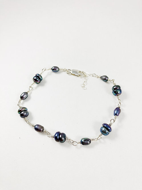 freshwater pearl bracelet, pearl jewelry, bridal jewelry, pearl bridal jewelry, silver bracelet