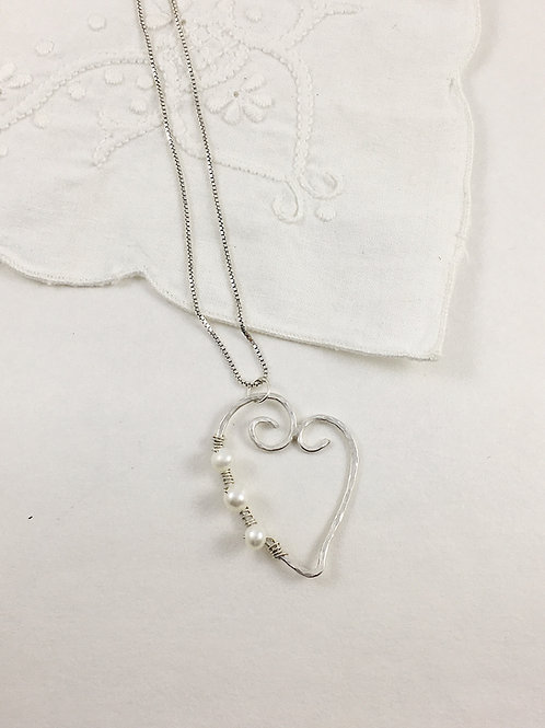 Valentine's pendant, heart pendant, recycled silver jewelry, pearl jewelry, pearl pendant, wire wrapped jewelry