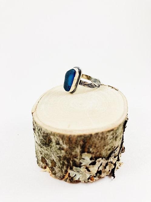 blueberry sea glass ring, handmade sea glass ring, sterling silver sea glass ring, artisan sea glass ring, mermaid tears