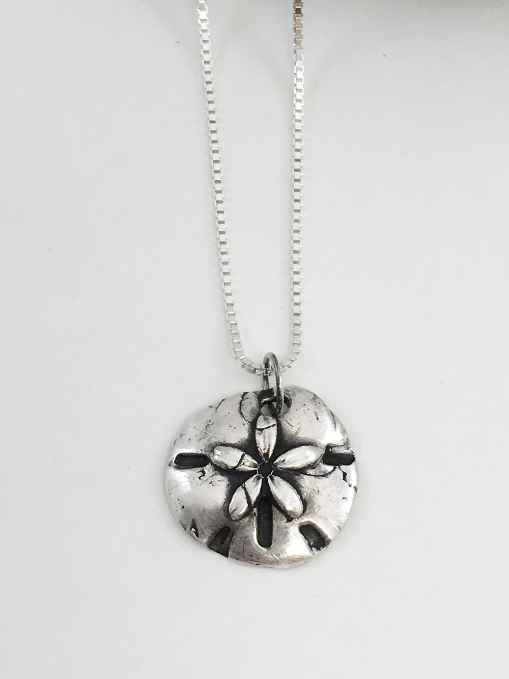silver sand dollar pendant, PMC pendant, PMC jewelry, silver shell necklace, beach wedding jewelry
