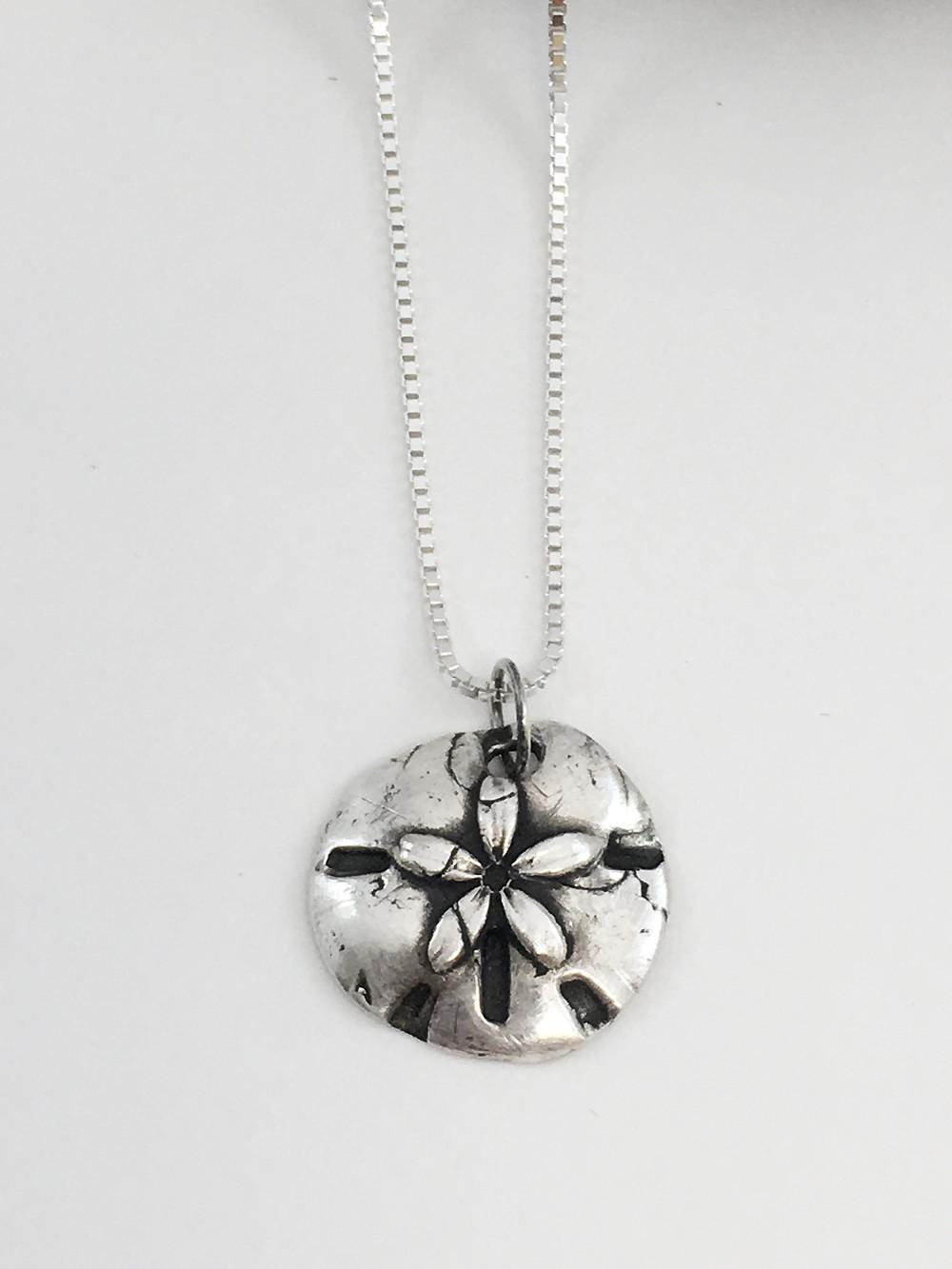 silver sand dollar pendant, PMC pendant