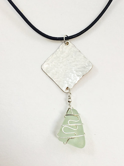sea glass and sterling silver pendant, minimalist sea glass pendant, leather and sea glass jewelry, unusual sea glass jewelry