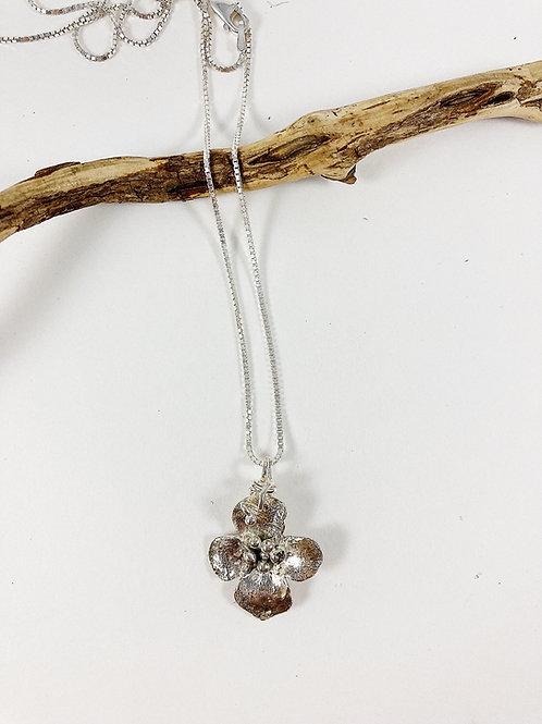 Mini dogwood flower pendant - silver