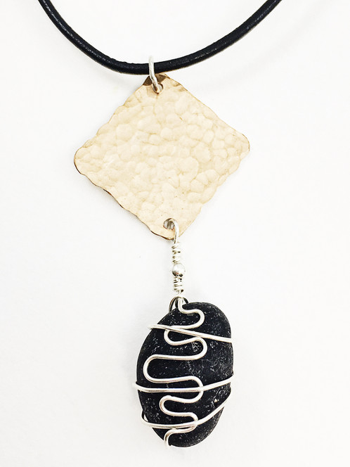 wire wrapped recycled glass pendant. Leather And Sea Glass Jewelry, Black Pendant, Upcycled Recycled Wire Wrapped Pendant I