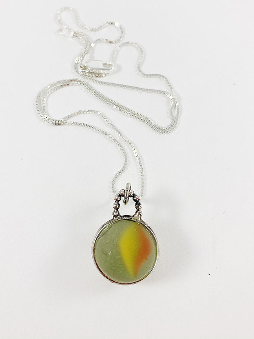 sea marble pendant- orange yellow green, sea glass necklace, sea glass jewelry, artisan jewelry, Bali necklace