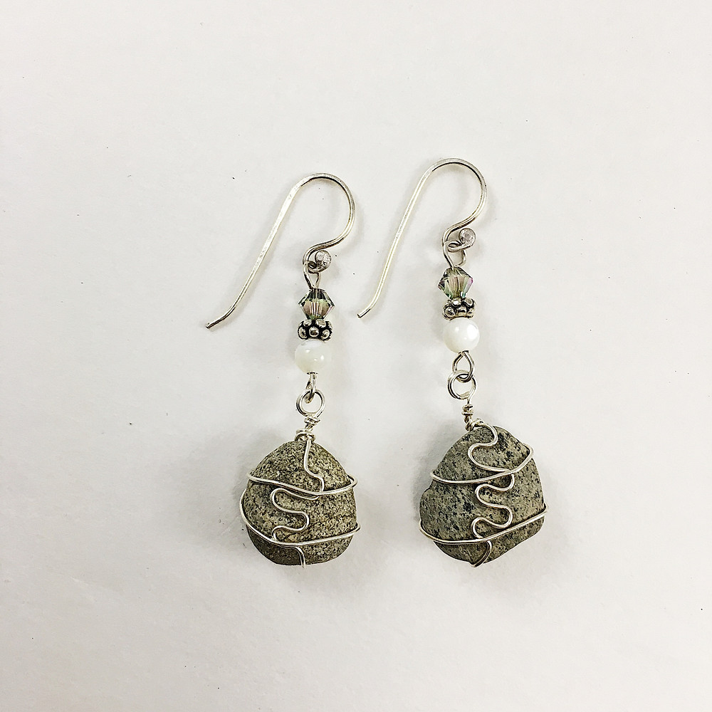 pebble earrings with sterling wire wrapping and handmade sterling ear wires