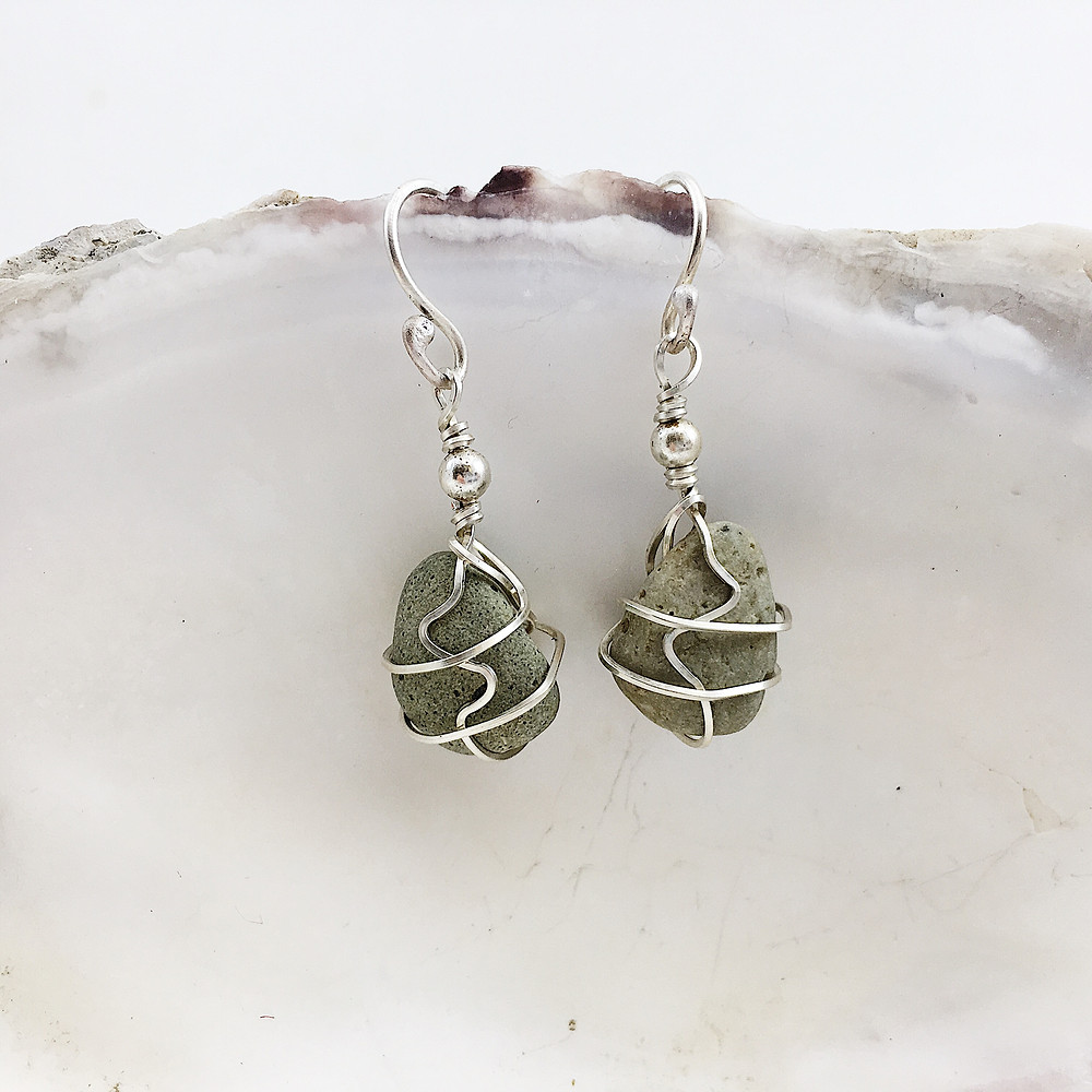 handmade pebble earrings with sterling silver