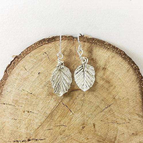 fine silver alder leaf jewelry, silver leaf earrings, nature jewelry, precious metal clay jewelry, PMC jewelry