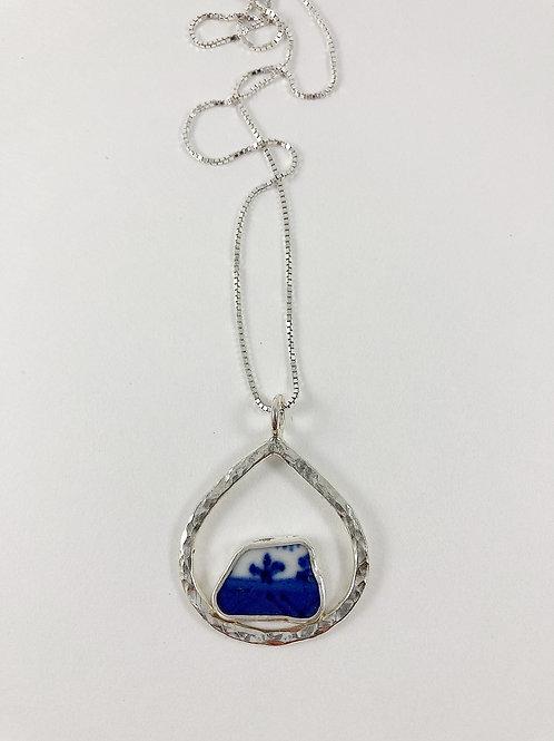 Ming china pendant, modern upcycled pendant, broken china jewelry, broken china pendant, minimalist jewelry