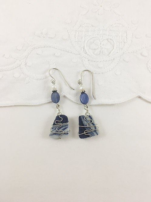 wire wrapped Ming China earrings, broken china jewelry, handmade jewelry, wire wrapped jewelry, upcycled earrings,
