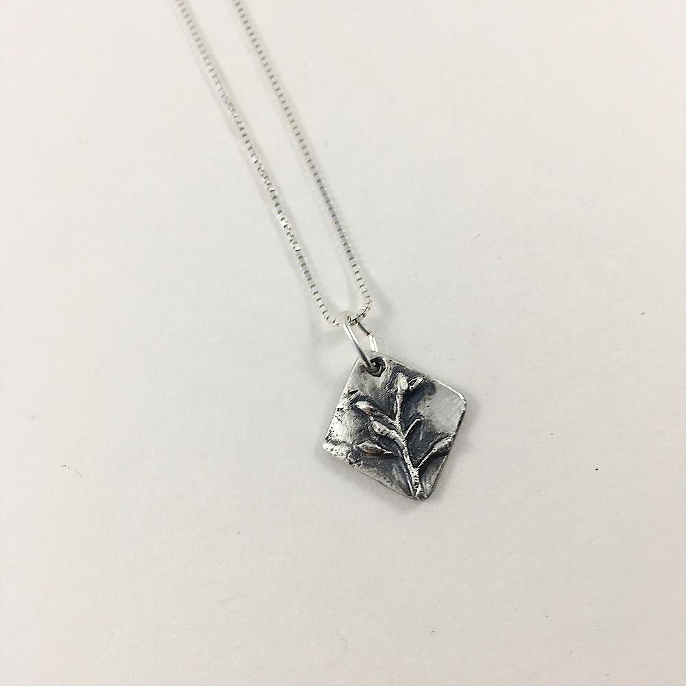 silver buds mini pendant, flower jewelry, precious metal clay jewelry, nature jewelry, silver botanical jewelry