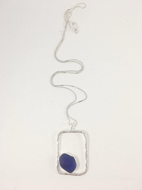 cobalt blue sea glass and sterling pendant, handmade jewelry, sterling silver sea glass pendant, handmade sea glass necklace