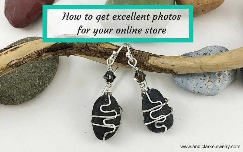 Handmade black pebble and sterling silver earrings