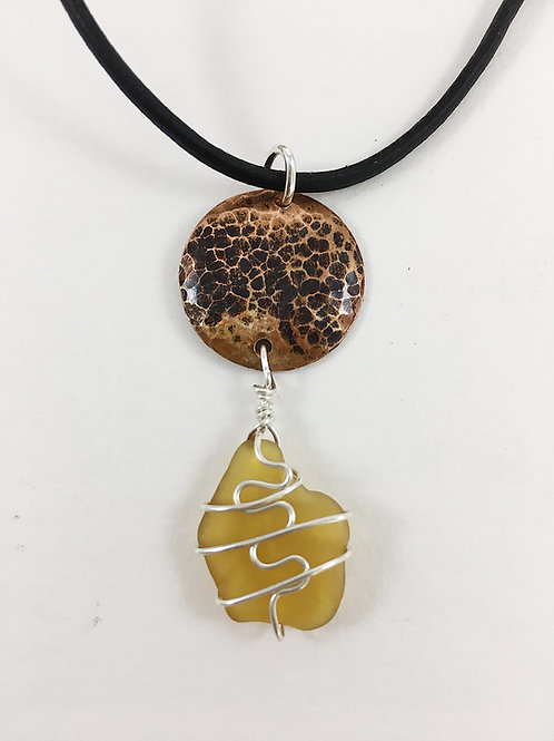 yellow sea glass necklace, rare sea glass pendant, sea glass jewelry, beach jewelry, mermaid necklace, handmade necklace