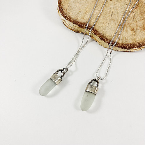 Light seafoam sea glass pendant, sterling silver sea glass pendant, handmade sea glass necklace, sea glass jewelry