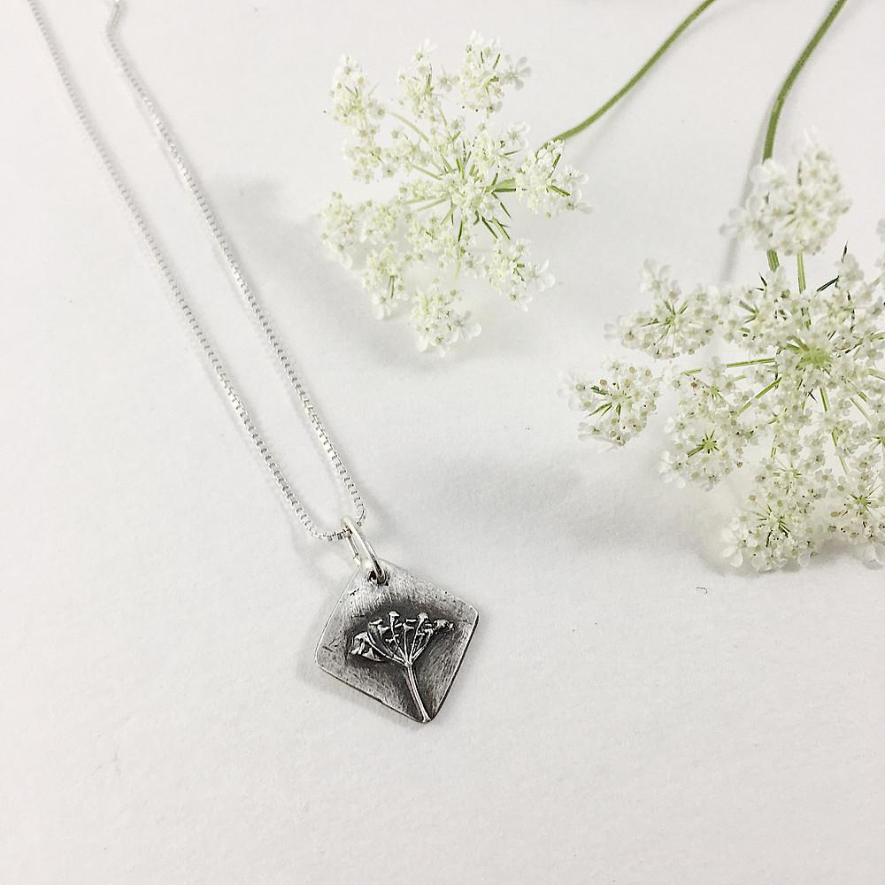 silver flower pendant, nature jewelry, botanical jewelry